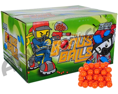 Bonus Balls 500 Round Paintballs - Orange Shell Yellow Fill ( .68 Caliber )