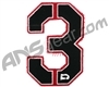 Push Division Velcro Number Patch #3 - Red