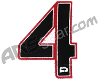 Push Division Velcro Number Patch #4 - Red