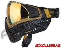 Push Unite Paintball Mask w/ Revo Lens & Carbon Fiber Goggle Case - Black/Gold