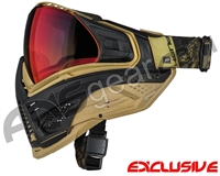 Limited Edition Push Unite XL Paintball Mask w/ Revo Lens & Carbon Fiber Goggle Case - Golden Dragon w/ Chrome Red Lens