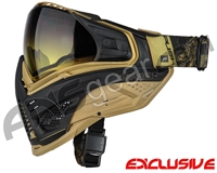 Limited Edition Push Unite XL Paintball Mask w/ Revo Lens & Carbon Fiber Goggle Case - Golden Dragon w/ Gradient Yellow Lens