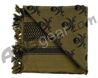 Rothco Shemagh Tactical Desert Scarf - Skulls Olive Drab/Black
