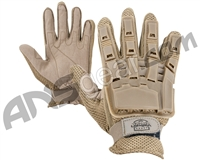 Valken V-Tac Full Finger Plastic Back Paintball Gloves - Tan