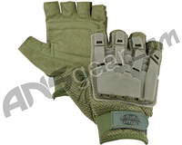 Valken V-Tac Half Finger Plastic Back Paintball Gloves - Olive