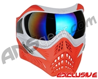 V-Force Grill Paintball Mask - SE Silver/Red w/ Mirror Blue Lens