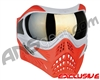 V-Force Grill Paintball Mask - SE Silver/Red w/ Mirror Gold Lens