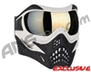 V-Force Grill Paintball Mask - White/Black w/ Mirror Gold Lens