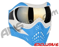 V-Force Grill Paintball Mask - SE White/Blue w/ Mirror Gold Lens