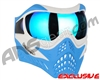 V-Force Grill Paintball Mask - SE White/Blue w/ Pulsar HDR Lens