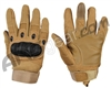 Warrior Paintball Full Finger Carbon Knuckle Gloves - Tan
