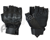 Warrior Paintball Half Finger Flex Knuckle Gloves - Black