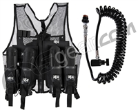 Warrior Paintball Lightweight Vest w/ 4 Pods & Warrior Deluxe Remote - Black