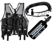 Warrior Paintball Lightweight Vest w/ 4 Pods, Warrior Deluxe Remote & Tippmann 48/3000 Tank - Black