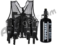 Warrior Paintball Lightweight Vest w/ 4 Pods & Tippmann 48/3000 Tank - Black