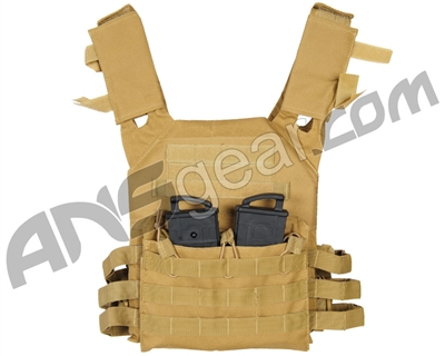 Warrior Low Profile Plate Carrier Airsoft Vest - Coyote