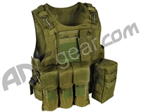 Warrior Paintball Tactical Molle Vest w/ Attachments - Olive Drab