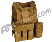 Warrior Paintball Tactical Molle Vest w/ Attachments - Tan