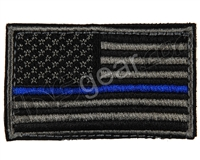 Warrior Velcro Morale Patch - US Flag - Black/Grey/Blue
