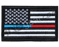 Warrior Velcro Morale Patch - US Flag - Blue & Red Line