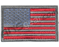 Warrior Velcro Morale Patch - US Flag - Grey/Red