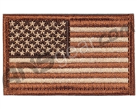 Warrior Velcro Morale Patch - US Flag - Tan/Brown