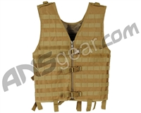 Warrior Paintball Zip Up Molle Vest - Coyote